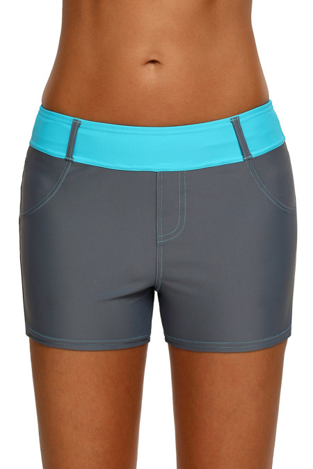 Mint Waistband Faux Denim Sports Shorts