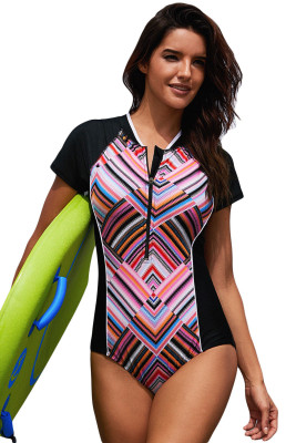 Diamond Striped Hourglass Rashguard Teddy Swimsuit