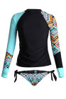 Contrast Blue Detail Long Sleeve Tankini Swimsuit