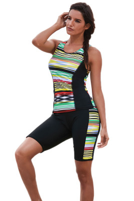 Multicolor Striped Pattern Sleeveless Rashguard Swimsuit
