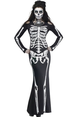 Langes Skelettkleid Erwachsenes Halloween-Kostüm