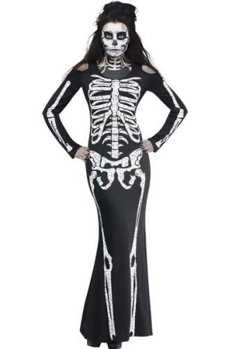 Wholesale Halloween Costumes Cheap Long Skeleton Dress Adult Halloween Costume Online