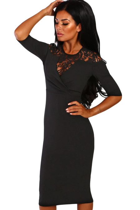 Black Lace Insert Notch V Neck Midi Dress