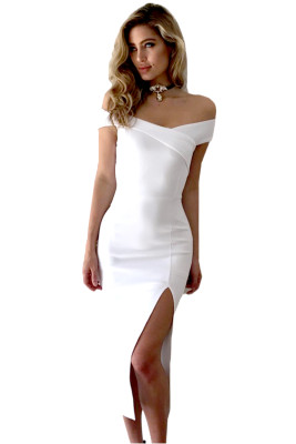 White Bodycon Off Shoulder Split Midi Dress