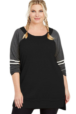 Black Charcoal Plus Size Long Sleeve Football Tunic