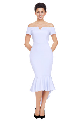 White Off Shoulder Short Sleeve Mermaid Dress
