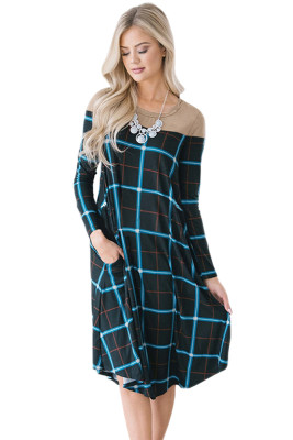 Black Checked Long Sleeve Casual Midi Dress