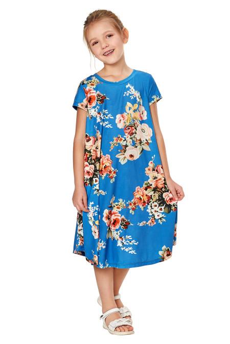 كم قصير أزرق طباعة الأزهار ثوب طفل