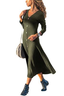 Army Green Button - Langärmliges, geripptes Midikleid