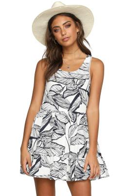 Летнее платье Boho с черными листьями