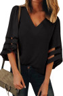 Black Flare Sleeve V Neck Loose Blúzka