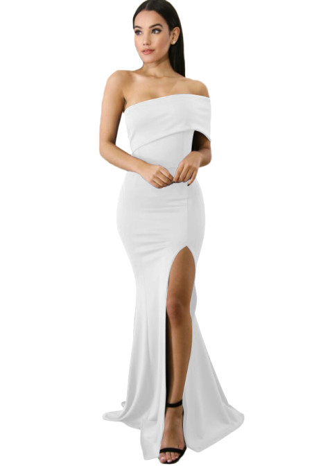 White Off The Shoulder One Sleeve Slit Maxi Prom Dress