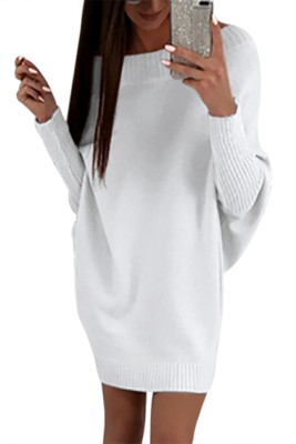 White Stylish Long Sleeve Baggy Sweater Dress