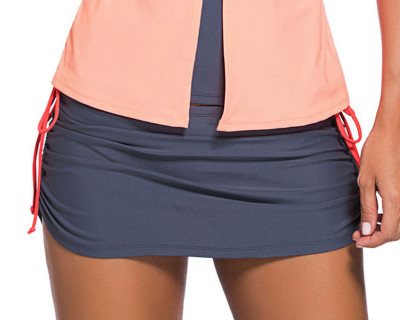 Grey Side-Tie Ruched Skirt Orange Brief Swim Bottom
