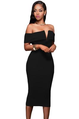 أسود خارج على الكتف فستان ميدي