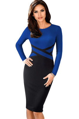 Royal Blue Contrast Waist Long Sleeve Sheath Dress