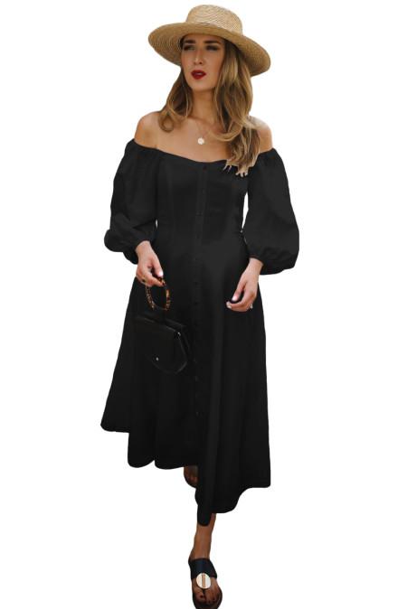 Robe vintage noire à manches bouffantes et aux épaules dégagées