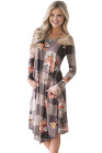 Brown Floral Checked Long Sleeve Casual Midi Dress