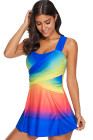 Royal Blue Ombre Tie Dye Swim Dress with Shorts