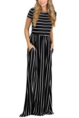 Белое полосатое черное платье с коротким рукавом Maxi
