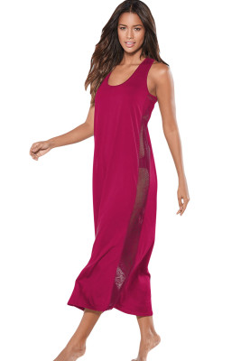 Rosy Mesh Side Long Cover-up