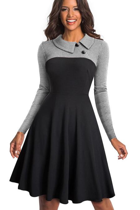Robe trapèze noire avec boutons de col rabattu vintage blanc