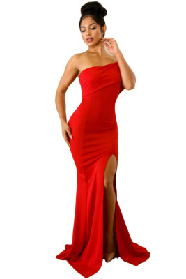 Red Off The Shoulder One Sleeve Slit Maxi Prom Dress