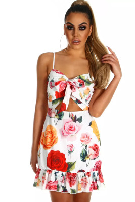 Sunflower Print Cut Out Frill Hem Mini Dress