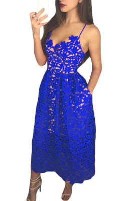 Royal Blue Lace Hollow Out Nude Illusion Prom Dress