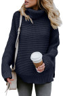 Navy Cozy Long Sleeves Turtleneck Sweater