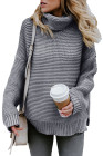 Gray Cozy Long Sleeves Turtleneck Sweater