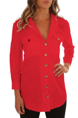 Blusa de linho de botões vermelhos xaile