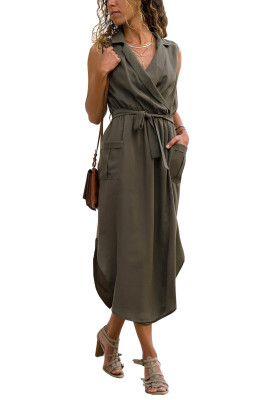 Army Green Sleeveless Shirt Long Dress with Pockets