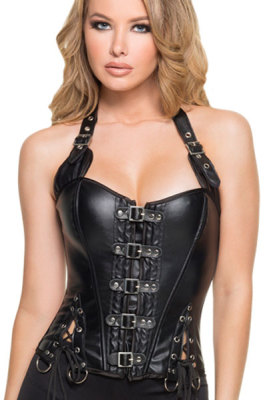 Black Buckle-up Steampunk Corset