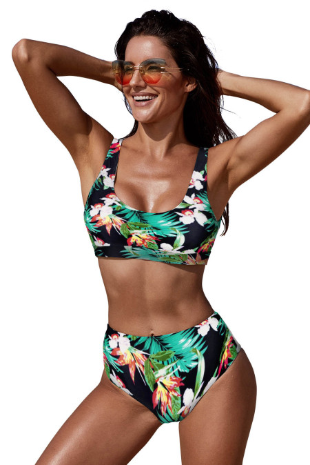 Green U-neckline High Waist Tropical Bikini