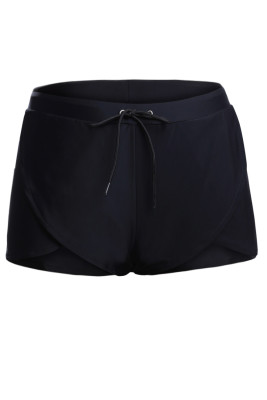 Solid Black Drawstring Waist Boyshort Beach Bottom