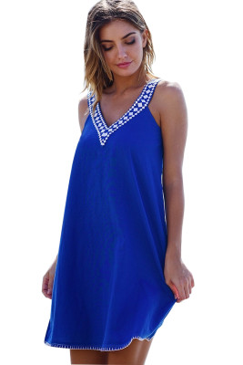 Blue Short Jersey V Dress