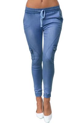 Dusty Blue - Kordelzug ankle Pocket Denim Jeans