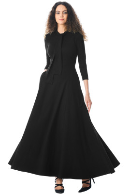 Black Pocketed 3/4 Sleeves Tie Neck Maxi Dress