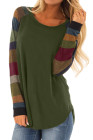 Color Block Long Sleeves Green Pullover Top