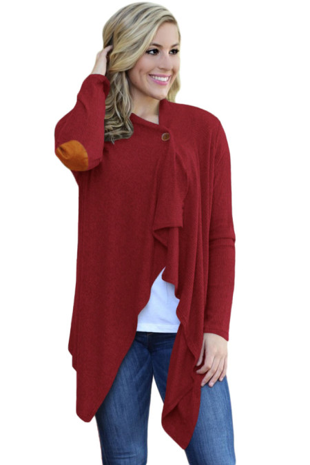 Purpurne rote Ellenbogen Patch Frauen Cardigan