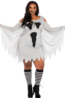 Halloween Ghost Print Jersey Plus Size Kleid