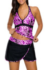 Purple White Spots V-neck Tankini Wrapped Skirt Swimsuit