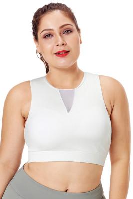 Weißer Mesh-Einsatz Stehkragen Plus Size Sport-BH