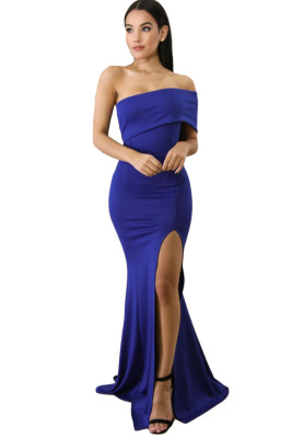 Blue Off The Shoulder One Sleeve Slit Maxi Prom Dress
