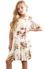 الفتيات الأبيض فستان زهري طباعة