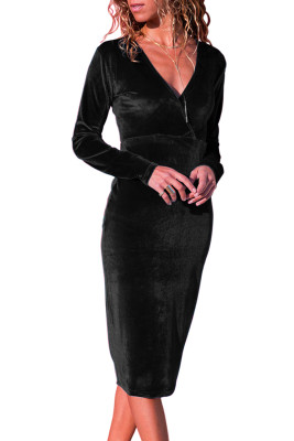 Black V Neck Sleek Velvet Midi Dress
