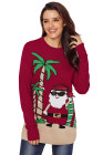 Burgundy Beach Coconut Tree Santa Sweater