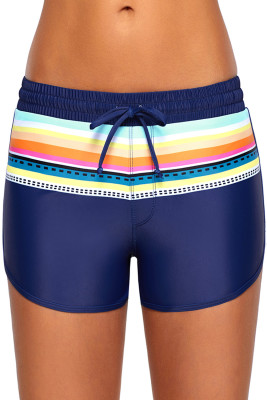 Striped Print Accent Navy Blue Drawstring Board Shorts