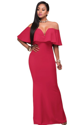 Rosy Ruffle Off Shoulder Maxi Prom Dress